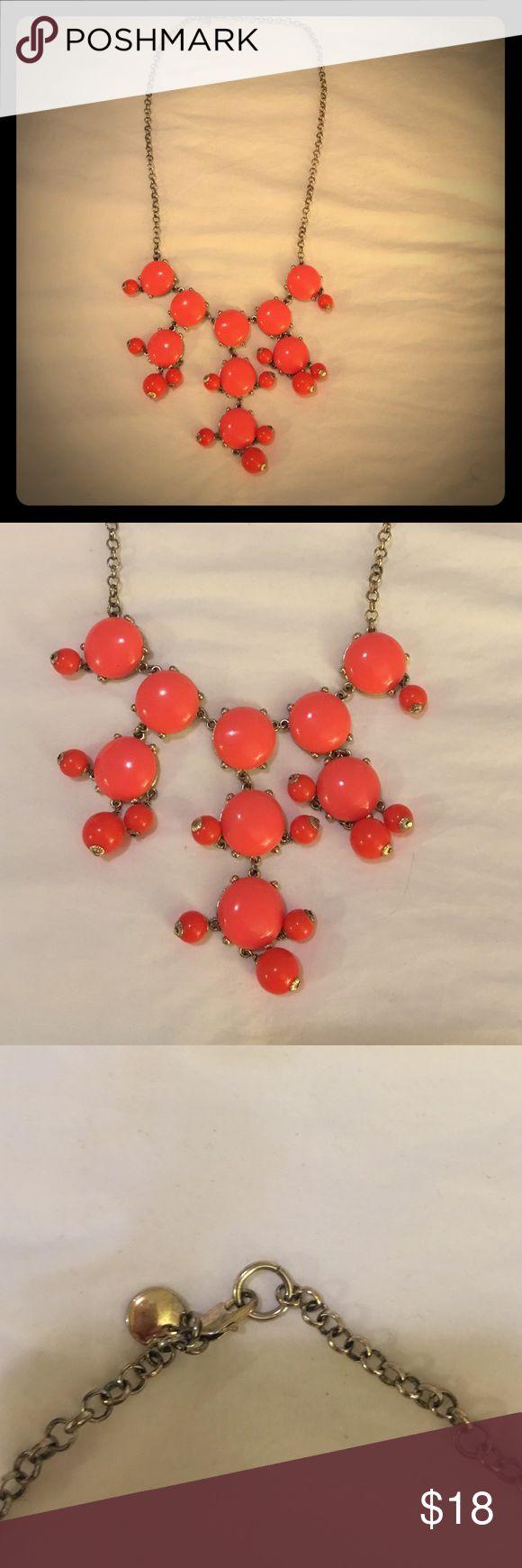 J Crew Bubble Coral Necklace J crew factory bubble statement piece necklace! Bright Coral/Orange J. Crew Factory Jewelry Necklaces
