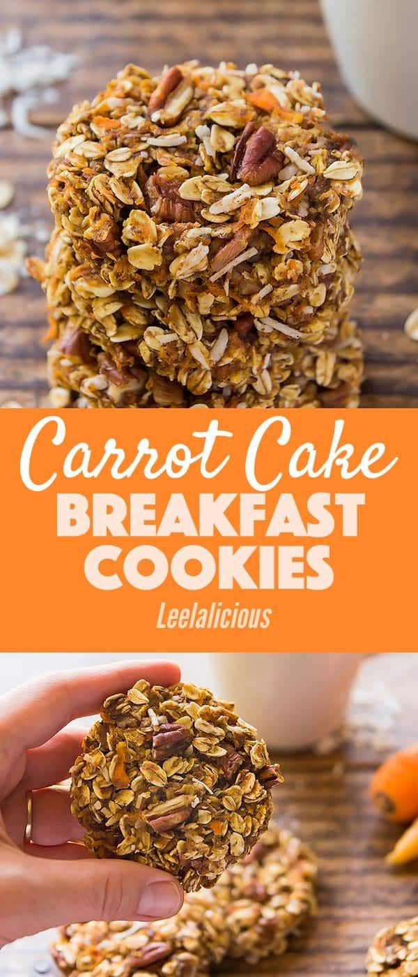 These Carrot Cake Breakfast Cookies Are A Perfect Healthy Morning Treat With Whole Grain Oats Carr Breakfast Cookies Healthy Breakfast Cookies Healthy Cookies