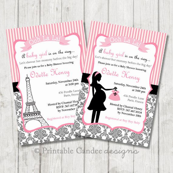 Paris Baby Shower Invitation  Paris Baby Shower by printablecandee
