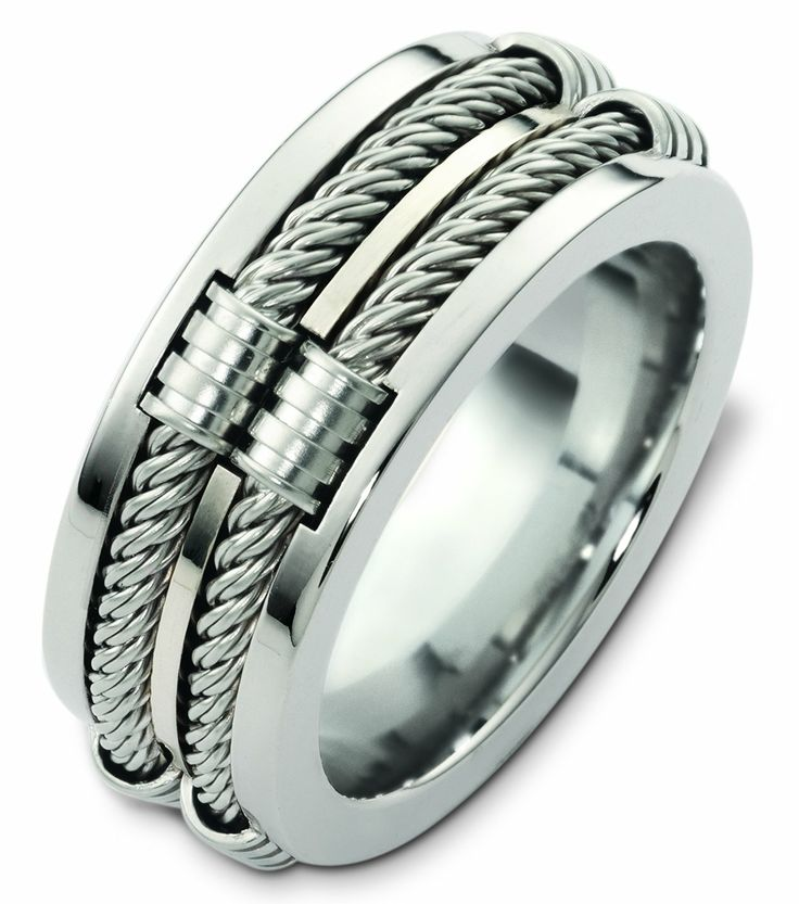 Cable Mens Ring Mensrings White Gold Wedding