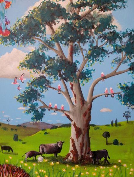 Small tree detail from GUM TREE MURAL by Australian Artist, Selinah Bull http://www.selinahbull.com