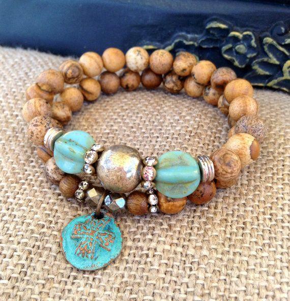 Jaspe Set pulseras estiramiento ~ cobre-pátina Cruz encanto ~ bendición azul por país encantos Chic