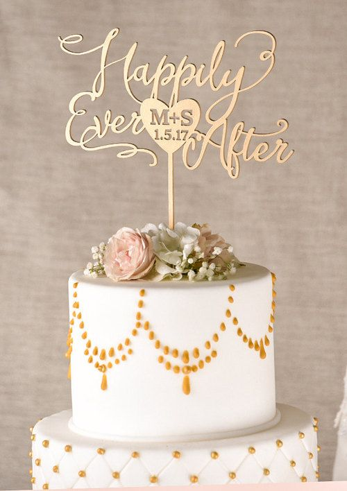 Gold Cake Topper Golden Wedding Cake Topper Happily Ever After Cake - http://wedding-cake-topper.com/gold-cake-topper-golden-wedding-cake-topper-happily-ever-after-cake/