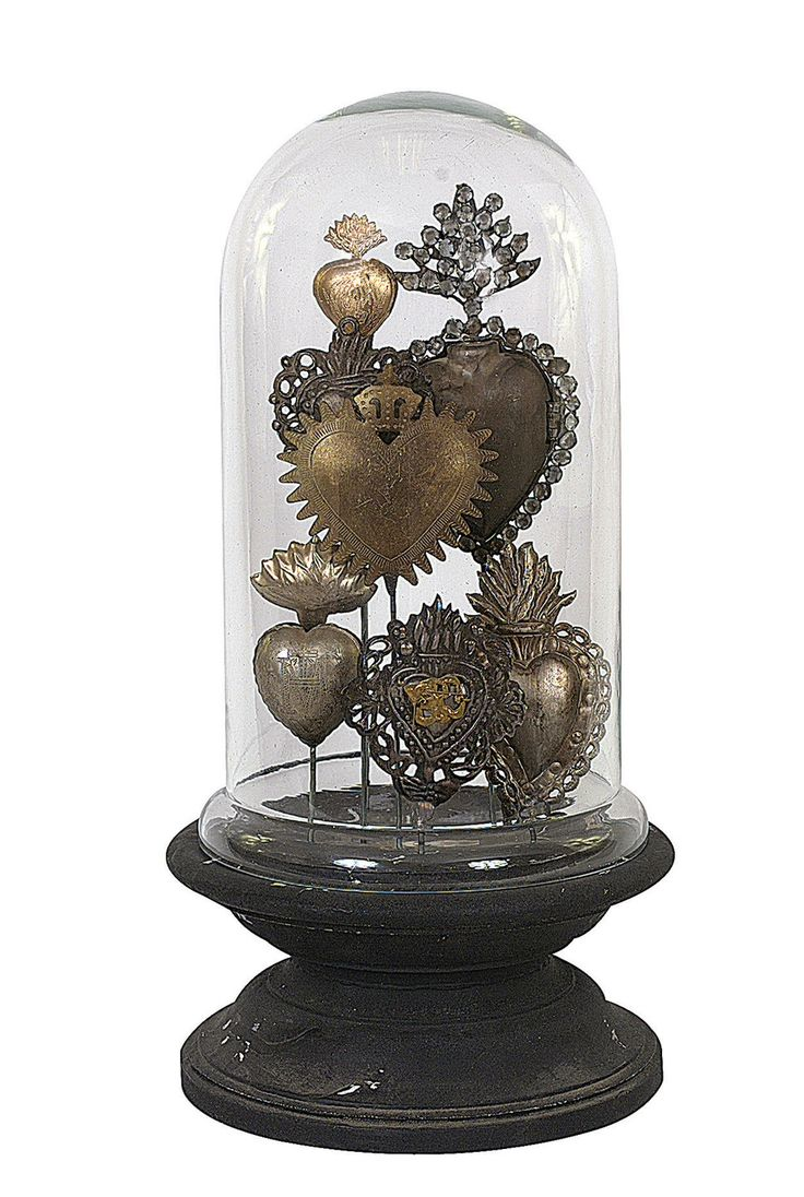 Features: -Chateau collection. -Material: Tin. -Base material: Wood. Product Type: -Cloches and water globes. Style: -Traditional. Theme: -Love and romance. Subject: -Home decor and furniture.