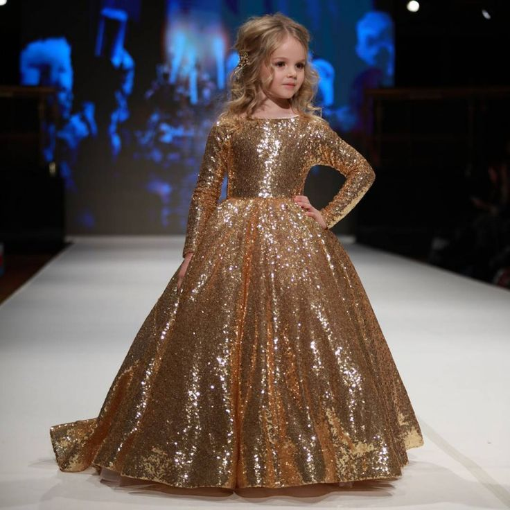 New Hot Sparkly Gold Ball Gown Sequined Children Pageant
