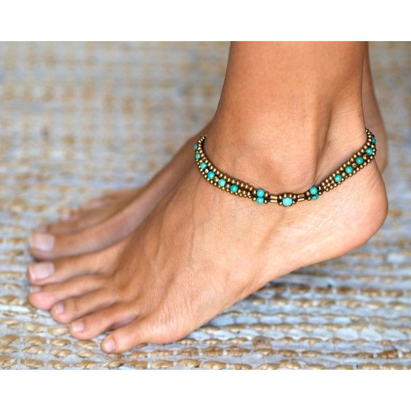 Anklet Indian Anklet Ankle Bracelet Minimal Turquoise Anklet Beach... (£10) ❤ liked on Polyvore featuring jewelry, indian anklet jewelry, turquoise jewellery, beach anklet, hippy jewelry and indian turquoise jewelry