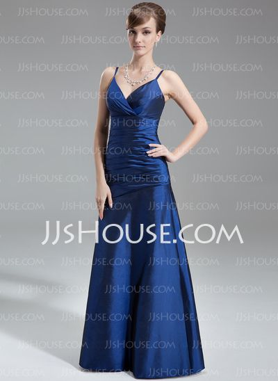 A-Line/Princess V-neck Floor-Length Taffeta Bridesmaid Dress With Ruffle (007001739)