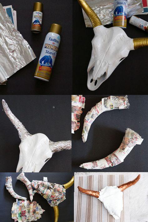 DIY Faux Paper Mache Cow Skull in Progress