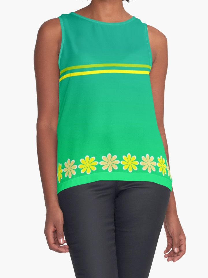 Thin #floral line by cocodes #contrast #tank #clothing #green #yellow
