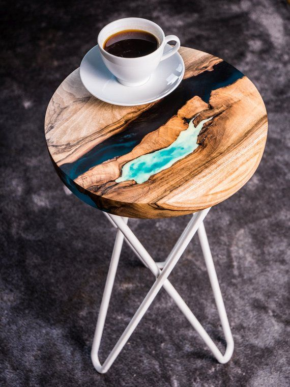Round live edge river bedside / coffee / end table with resin and glowing resin table