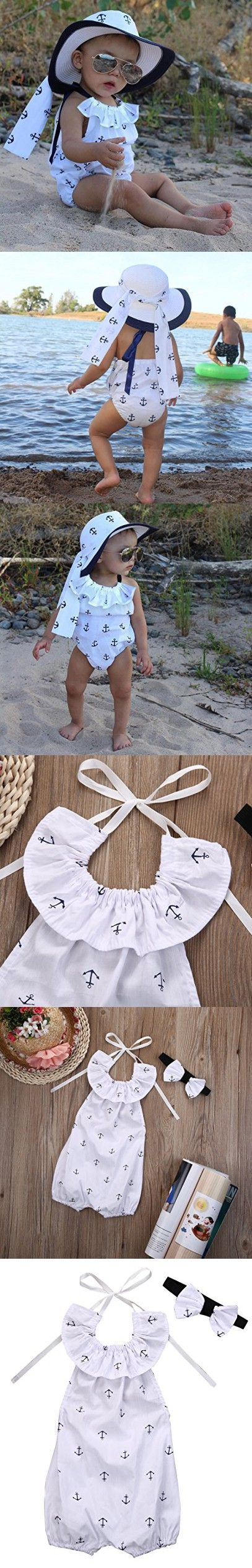 Infant Baby Girl Romper Anchor Bodysuit Jumpsuit Outfits Sunsuit Ruffles Clothes (0-6 Months, White)