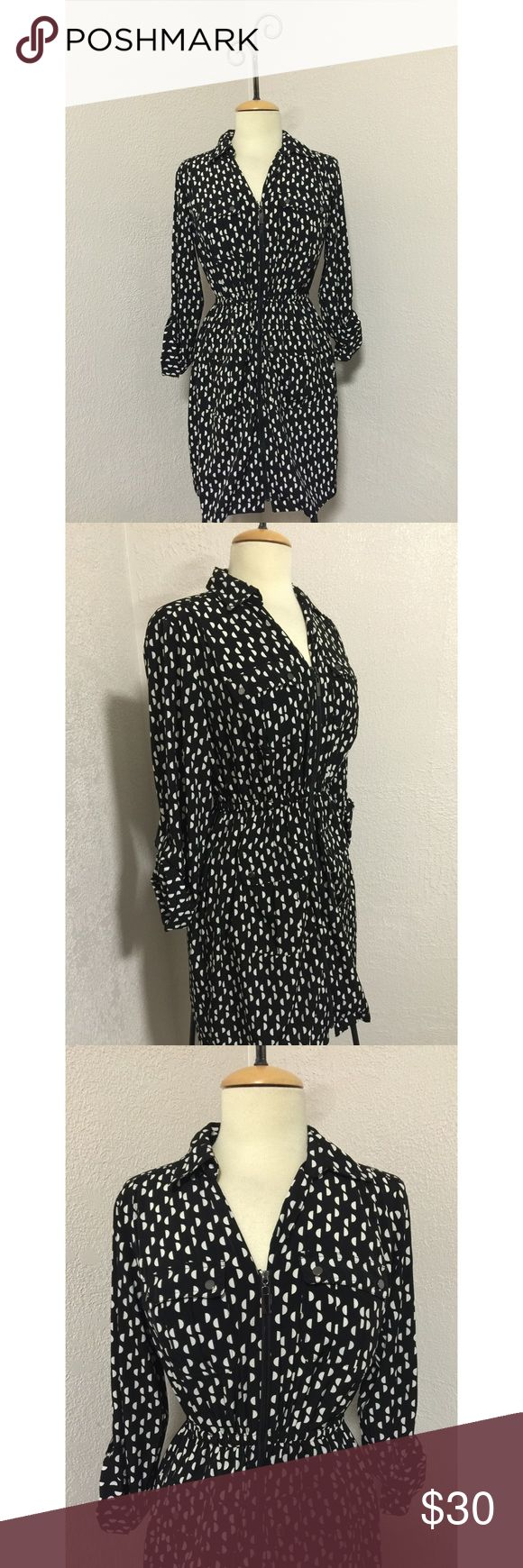 NWOT Black/White ALFANI polka dot dress size 4 New with out tags! Never worn in great condition! Black and white polka dot zip up dress by Alfani in a size 4 Alfani Dresses Midi
