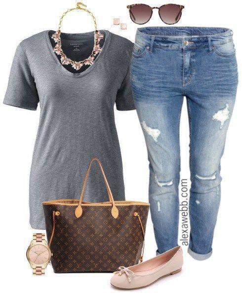 Plus Size Casual Outfit - Plus Size Boyfriend Jeans - Plus Size Fashion for Women - Alexa Webb - alexawebb.com
