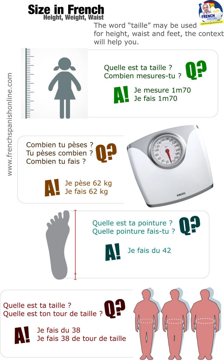 Size in French: height, weight, waist: http://goo.gl/qylPlP