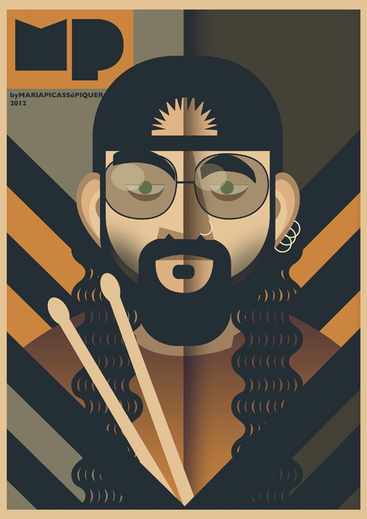 Mike Portnoy caricature by Maria Picassó i Piquer