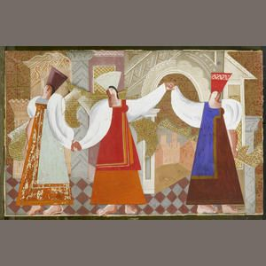 Pavel Tchelitchew (Russian, 1898-1957) Stage design for The Wedding Feast of the Boyar  gouache, newspaper and collage on card 28.5 x 45.5cm (11 1/4 x 17 15/16in). Sold for £46,850 (RUB 2,409,679) inc. pr