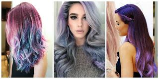 Cabello Morado Gris y Multicolor #hairstyle #women #fashion #moda #mujeres