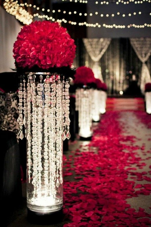 These lighted columns would be great for the entrance of a Phantom of the Opera party.  Or change the red to gold and use at a Great Gatsby party.