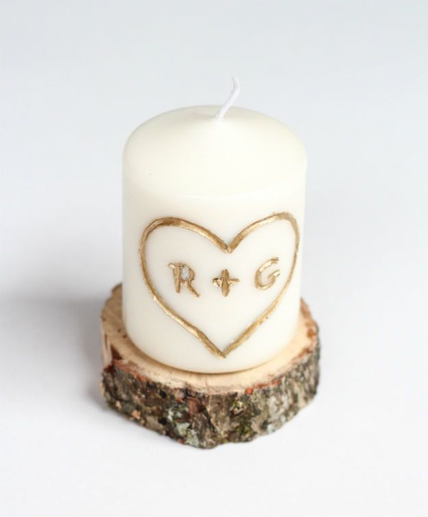 Christmas Gifts for Boyfriend! DIY Carved with Initial Candle   http://diyready.com/24-diy-gifts-for-your-boyfriend-christmas-gifts-for-boyfriend/