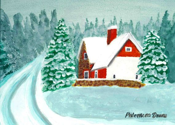 Irish cottage Snow Scene original watercolour