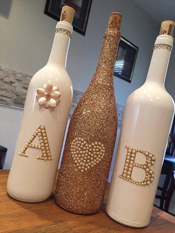 Rose Gold and White Custom Decorative Wine Bottle Set