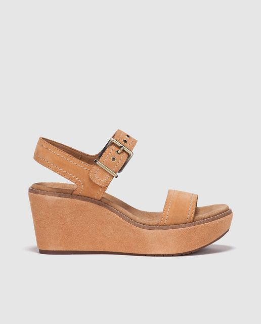 Sandalias de cuña de mujer Clarks  de serraje marrón