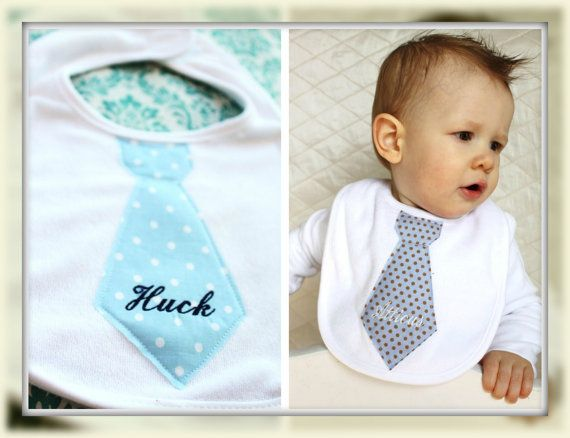 Personalized Tie Bib. Darling Baby Boy Birthday Gift. Easter or Birthday in Style, or handsome Photograph Prop. Wedding accessory. Any Tie