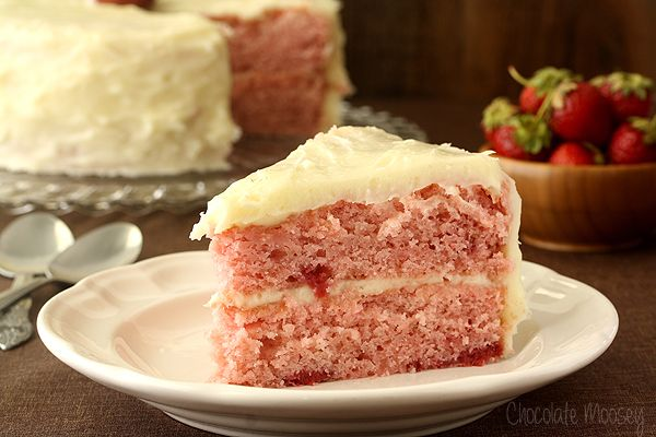 Strawberry Layer Cake From Scratch | Chocolate Moosey