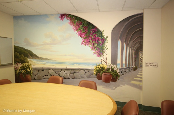 Trompe l 39 leil mural mediterranean sanctuary room view for Bay view wall mural