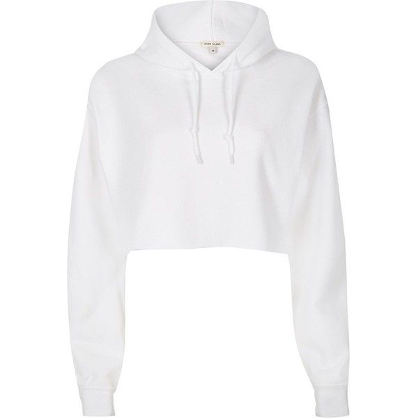 River Island White cropped hoodie (£31) ❤ liked on Polyvore featuring tops, hoodies, sweatshirts, sweaters, shirts, crop top, jackets, white, tall shirts and long sleeve hoodie shirt