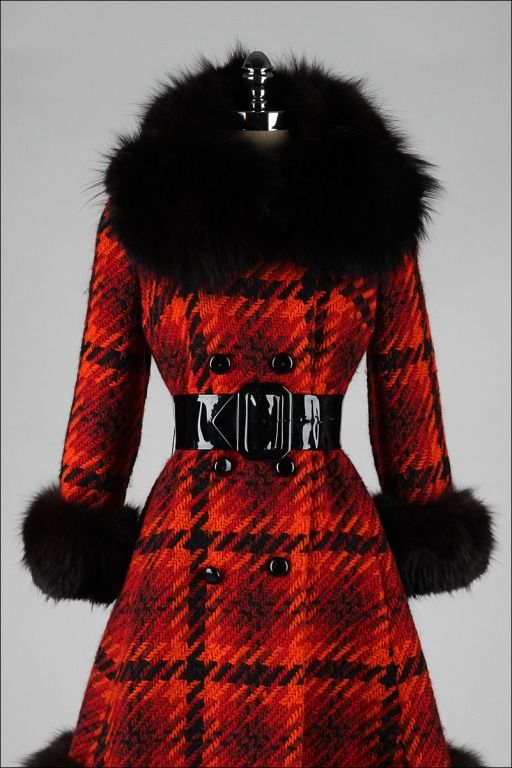 1960 | Red, Orange, and Black Plaid Wool Coat with Black Fox Fur Trim at Collar, Cuffs, and Trim by Lilli Ann