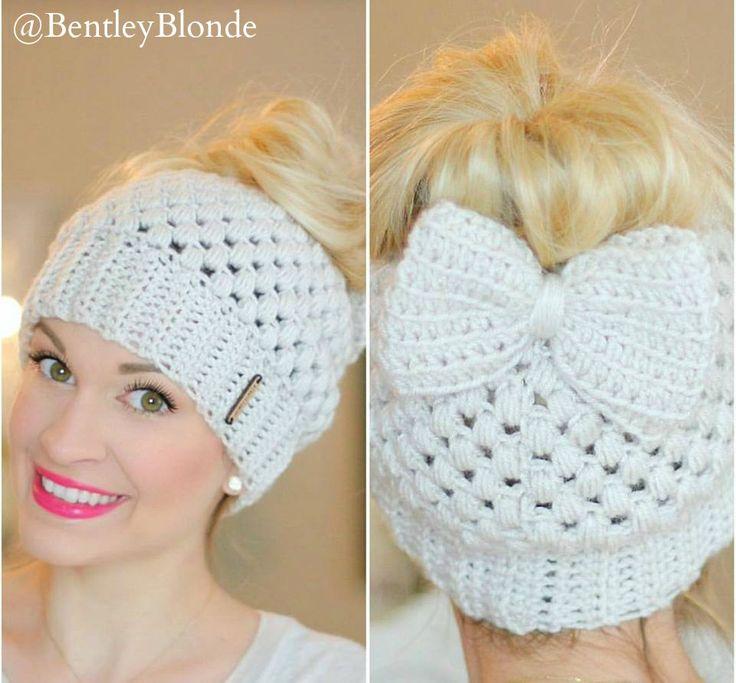 Crochet Messy Bun Beanie : bow crochet bun beanie messy bun winter fashion 2017 forward messy bun ...