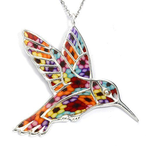 925 Sterling Silver Hummingbird Necklace Pendant Handmade Multi-Coloured Polymer…