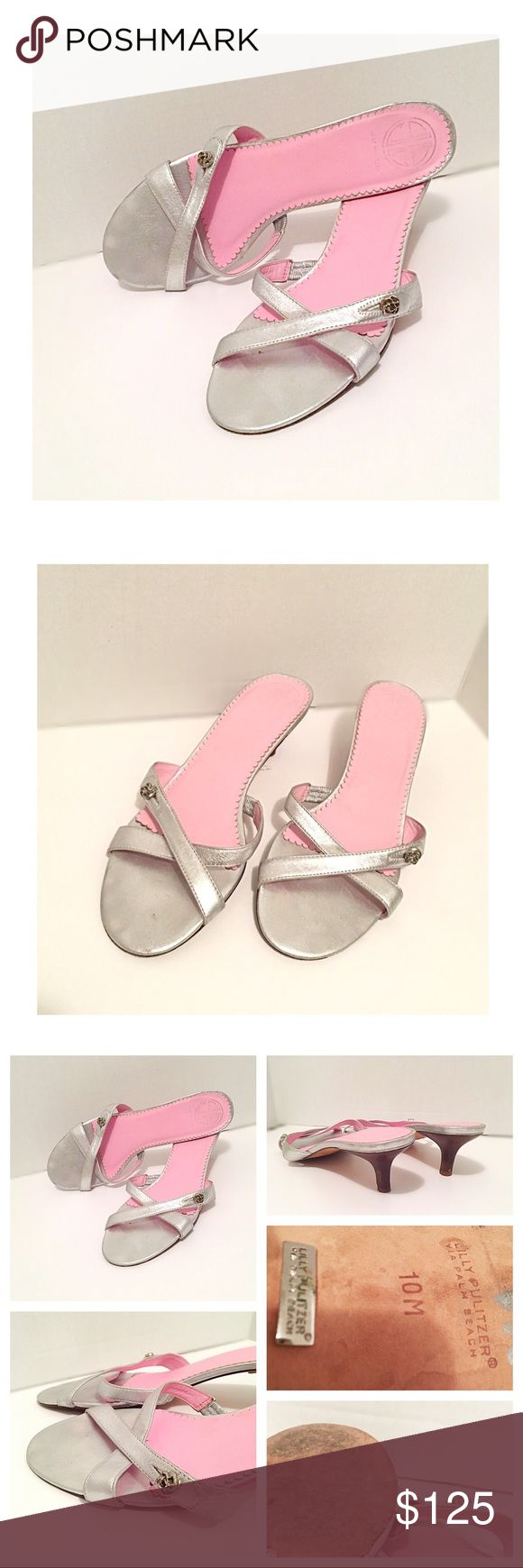 "Lilly Pulitzer Fashion Chic Silver & Pink Sandals Beautiful Feminine Silver Strappy Sandals, with stylish pewter rose flower embellishments / button. Perfect for casual office days, cruises, weddings, honeymoon, girls day shopping, running errands, graduation / prom, college spring summer days, or any day! •  metallic crossed front leather straps; and soles, pretty girly bright pink insoles, 2.375"" stacked wooden kitten heels, gently worn & show signs of wear on the bottom! • smoke & cat…"