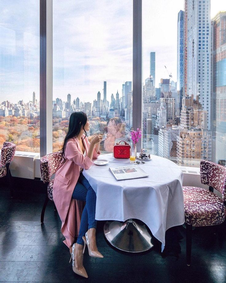 @ofleatherandlace Instagram | Asiate, breakfast at the Mandarin Oriental, New York | brunch with a view, new york city, central park view, amazing city views, pink coat outfit, city skyline