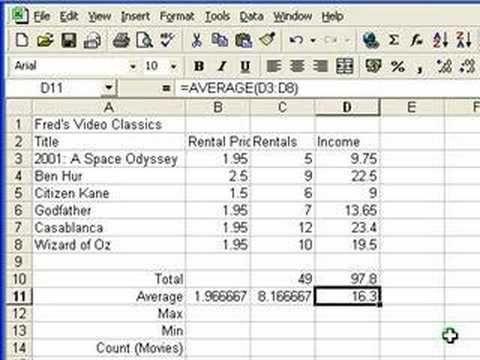 Microsoft Excel Tutorial for Beginners #4 - Functions (Formulas)