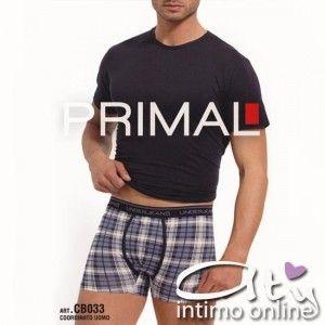 Coordinato Uomo PRIMAL CB033.  MAglia girocollo e Boxer in cotone elasticizzato qualità Primal.