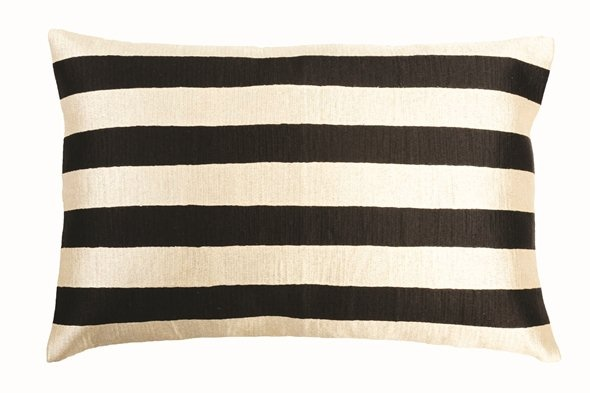 Black stripe embroidered cushion