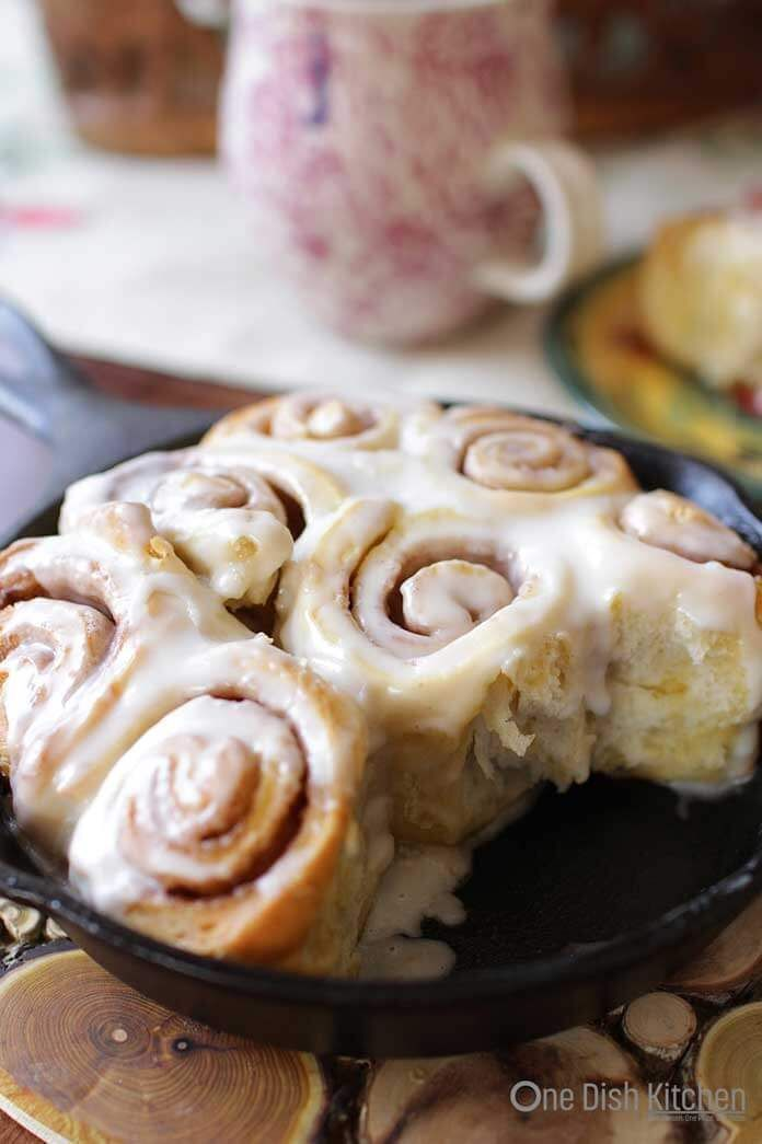 How To Make Cinnamon Rolls for One!  Easy recipe for sweet, gooey, fluffy and delicious cinnamon rolls made with refrigerator biscuits. | One Dish Kitchen | onedishkitchen.com