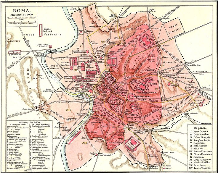 Plan Roms im Altertum / Map of Rome during Antiquity, 1886