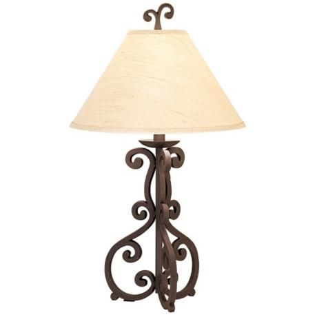 High Iron Scroll Table Lamp - Living room-love this!