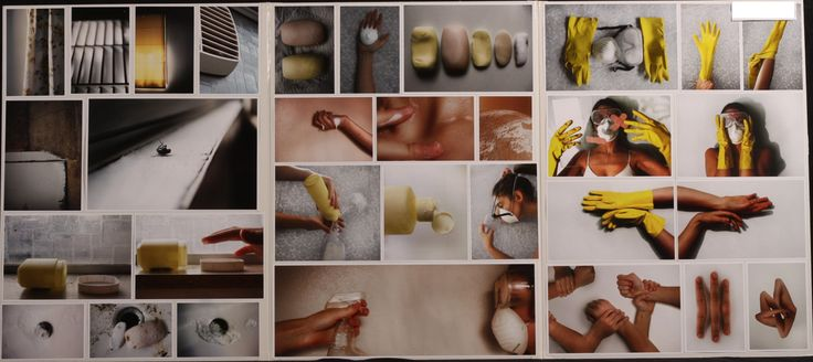 My initial focus was to address an issue many of us let go unnoticed throughout our day to day lives. This then brought me to the idea that the chemicals we are exposed to on a daily basis, whether they be hygiene or beauty related, are advertised to us as 'life enhancing necessities' but are really harmful poisons. My panels were created to remind us of the fragility of the human form and to demonstrate an exaggerated effect of chemical use on the body.