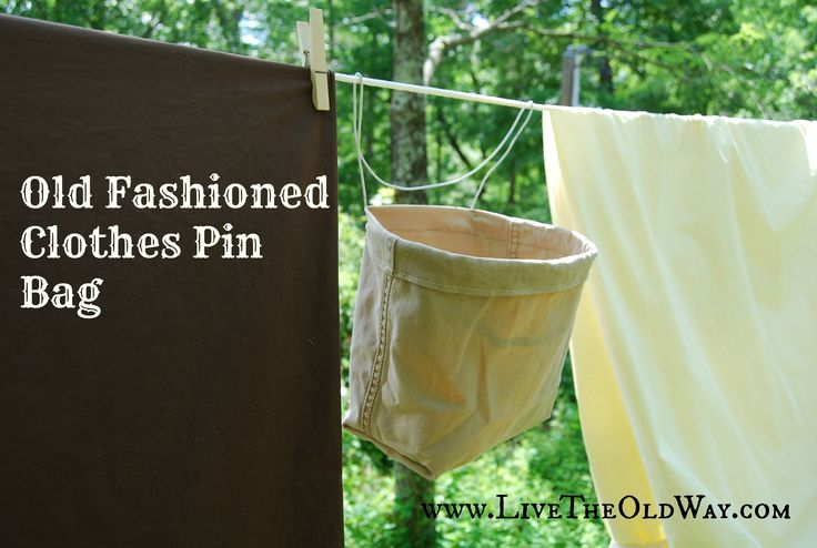 Easy clothes pin bag made from old pants leg and wire hanger!