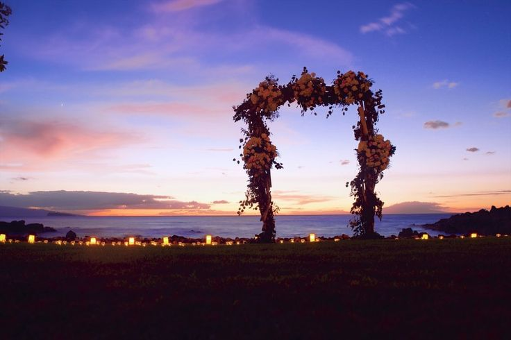 Purple sky sunset and dreamy wedding ceremony arch by Bliss - Anna Kim Photography - Wedding Chicks