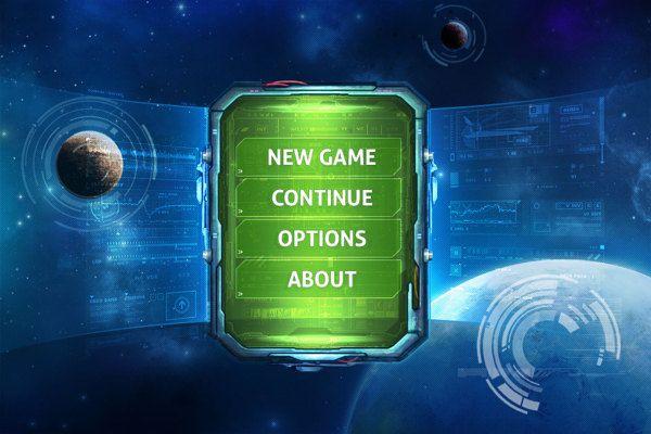 Tablet Sci-Fi game menu on Behance