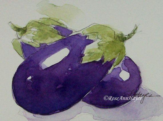 Original Watercolor Painting Eggplant Vegetable by RoseAnnHayes