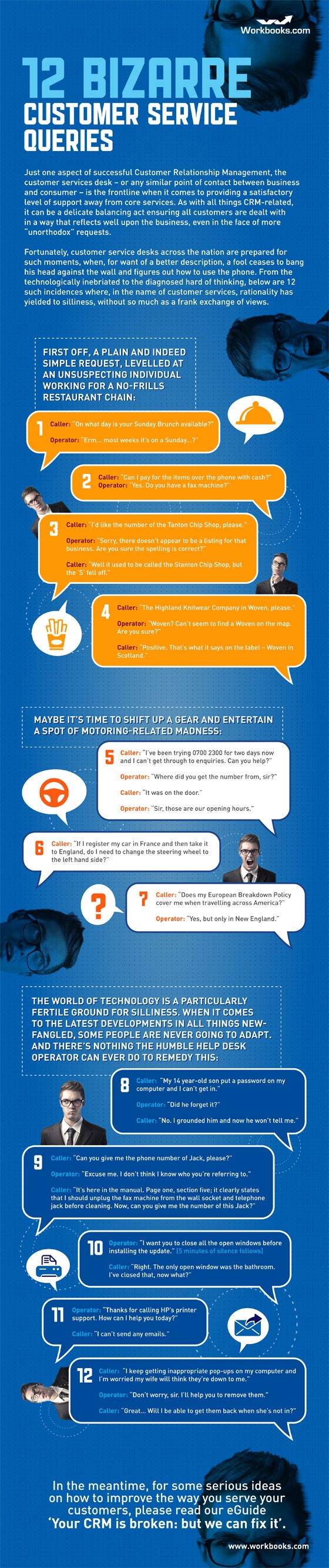 Fresh on IGM > Weird Customer Queries: Really funny! Read it now. A controversy between front desk realism and silliness and patronized customer service for the sake of CRM and brand communication policy.  > http://infographicsmania.com/12-bizarre-customer-service-queries/