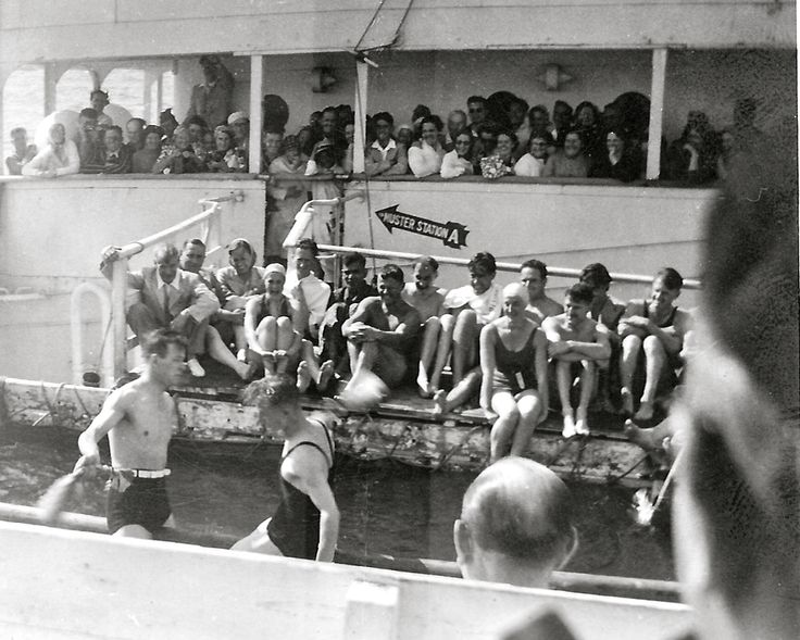 Swimming pool on board the RMS Lancastria in the 1930s on Mediterranean Cruise.