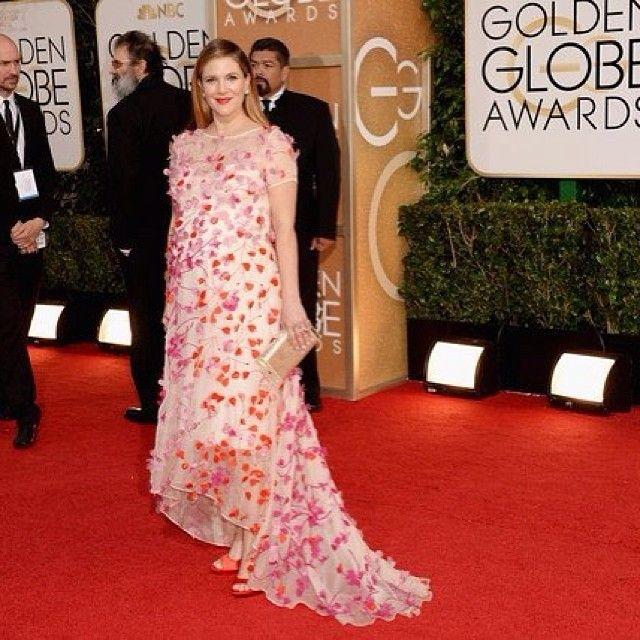 Drew Barrymore, Monique Lhuillier, Golden Globes 2014
