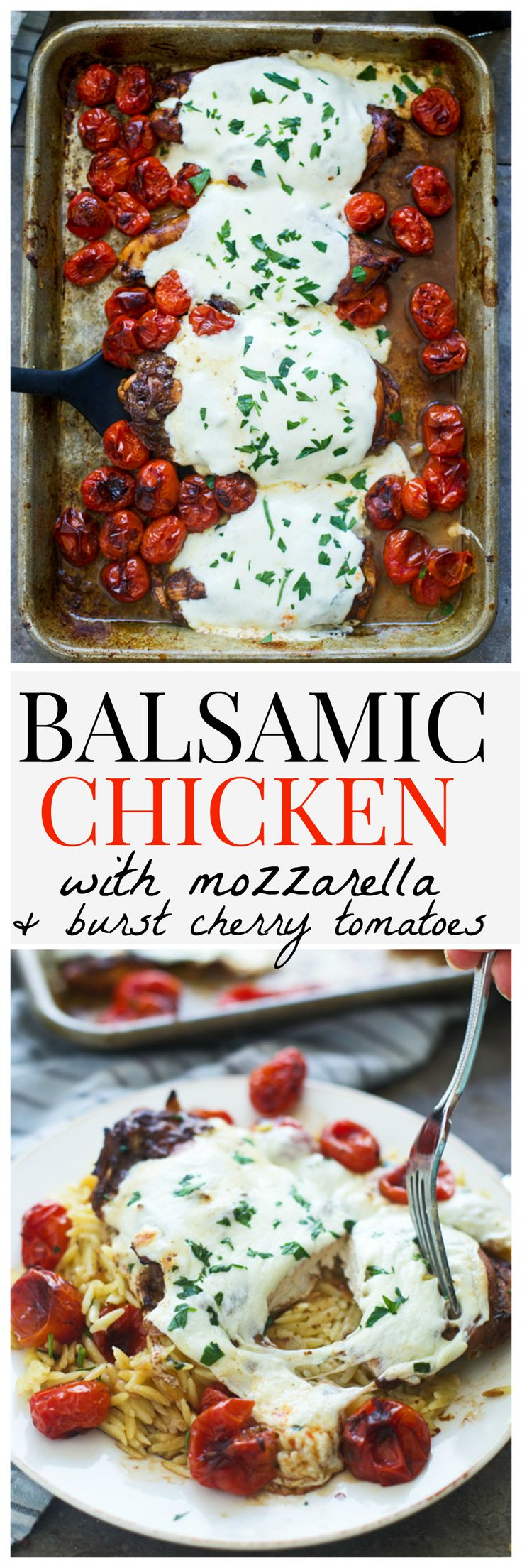 Easy dinners are the name of my game as of late, and this Balsamic Chicken with Mozzarella and Burst Cherry Tomatoes just shot straight up to the top of my ever-growing list of favorites. In the game of easy dinners, it really doesn't get much simpler tha